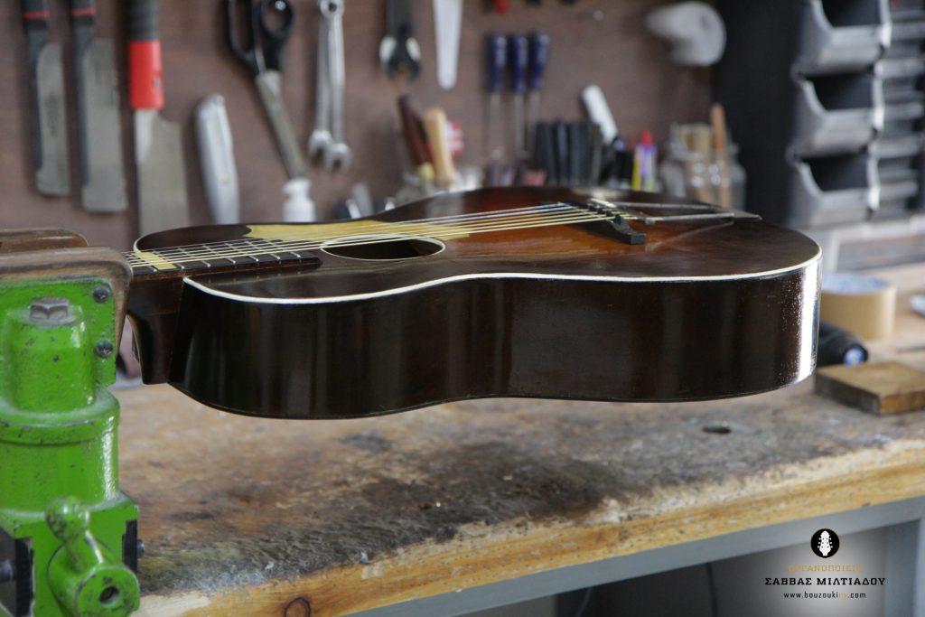 Επισκευή ακουστικής κιθάρας - Old Acoustic Guitar Restored - Repair - Οργανοποιείο Σ. Μιλτιάδου - BouzoukiCy - Cyprus - Κύπρος (31)